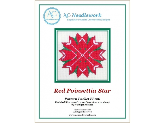 Red Poinsettia Star Counted Cross Stitch Pattern cover page