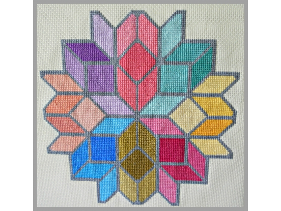 Tumbling Boxes Mandala Counted Cross Stitch Design