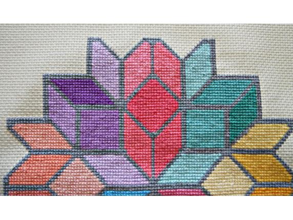 Tumbling Boxes Mandala close up stitching