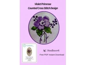 Violet Primrose Counted Cross Stitch Design