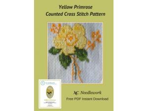 Yellow Primrose Counted Cross Stitch Design