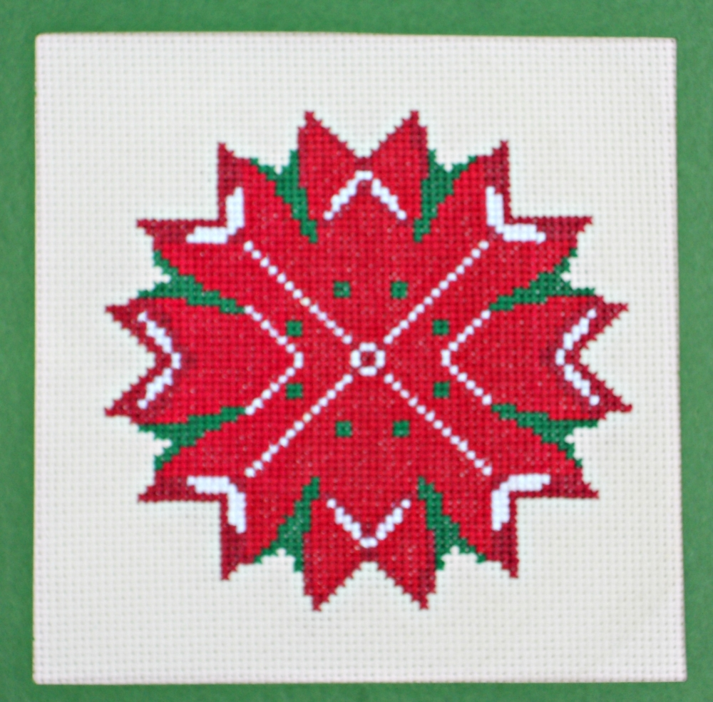 Red Poinsettia Star Counted Cross Stitch Pattern