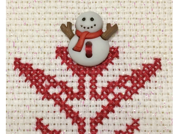 snowman close up SH 408 Snow Time Counted Cross Stitch Pattern