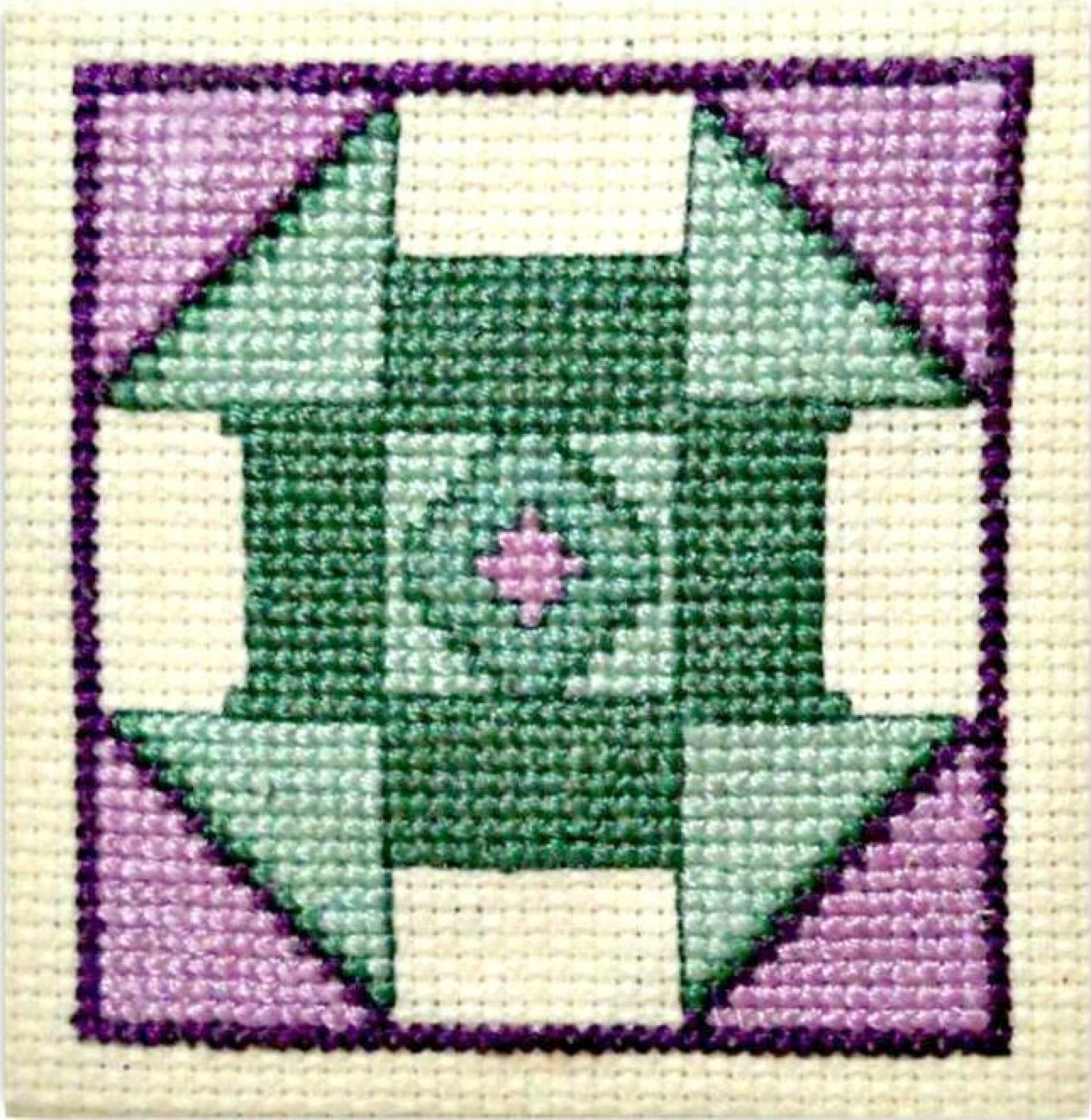 Cross Stitch Quilt Patterns : Churn Dash Quilt Block Counted Cross Stitch Pattern ACNeedlework