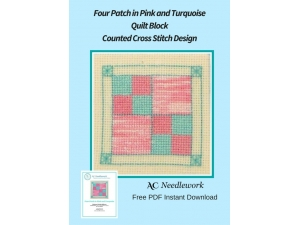Four Patch in Pink and Turquoise Quilt Block Counted Cross Stitch Design