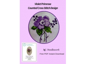 Violet Primrose Counted Cross Stitch Design