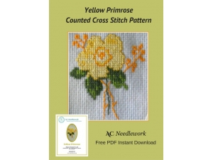 Yellow Primrose Counted Cross Stitch Design
